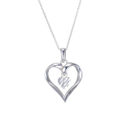 Footnotes Footnotes Footnotes Womens Sterling Silver Heart Pendant Necklace