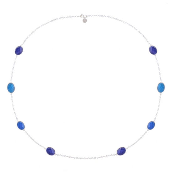 Liz Claiborne Womens Blue Oval Strand Necklace