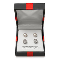 Deals on 2 Pair Cultured Pearl & Crystal Sterling Silver Earring Set