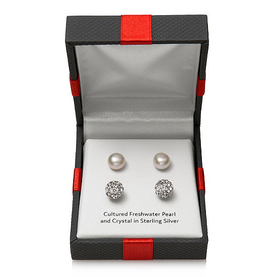 Limited Time Special! 2 Pair Cultured Freshwater Pearl & Crystal Sterling Silver Earring Set