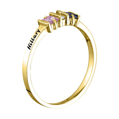 Womens Simulated Multi Color Stone 14K Gold Square Cocktail Ring