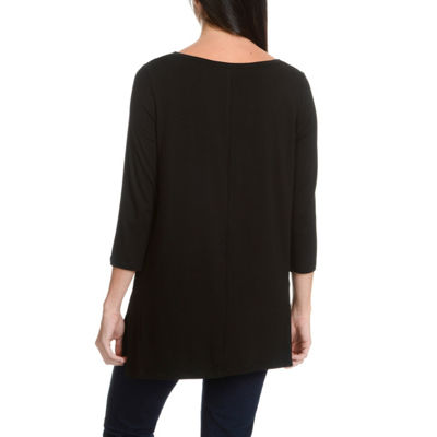 Larry Levine Solid 3/4 Side Slit H/L V-Neck Knit Top