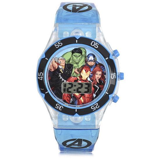 Marvel Avengers Boys Digital Blue Strap Watch-Avg4546jc