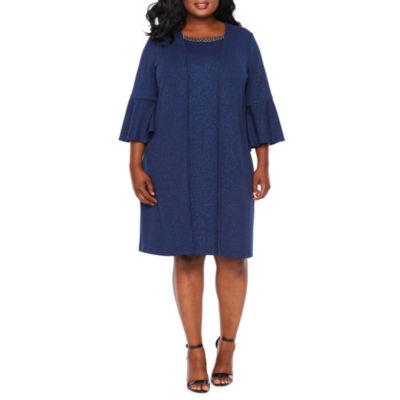 Scarlett 3/4 Bell Sleeve Jacket Dress - Plus