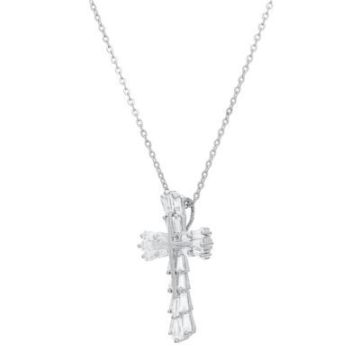 Diamonart Womens White Cubic Zirconia Sterling Silver Cross Pendant Necklace