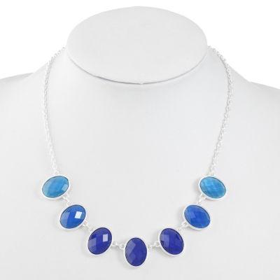 Liz Claiborne Womens Blue Oval Collar Necklace