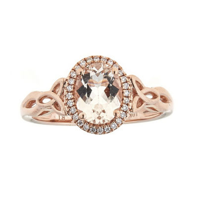 Womens 1/10 CT. T.W. Genuine Pink Morganite 10K Rose Gold Cocktail Ring
