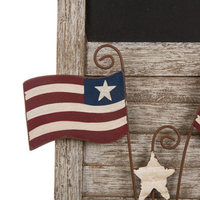 Patriotic Wooden Chalkboard with Flags Wall Decor