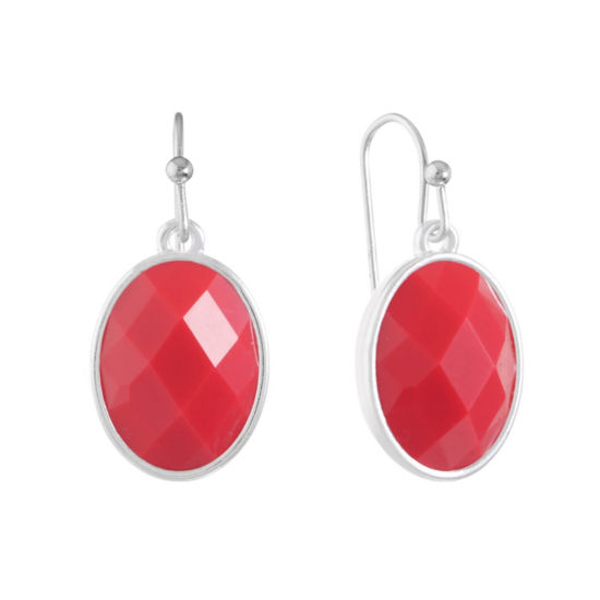 Liz Claiborne Red Oval Drop Earrings