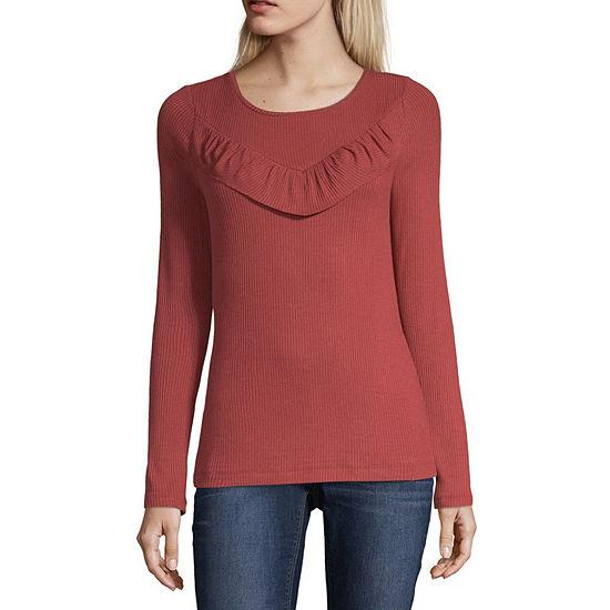 Ana Womens Round Neck Long Sleeve Blouse