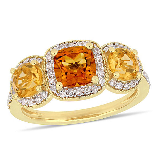 Womens 1/3 CT. T.W. Genuine Yellow Citrine 18K Gold Over Silver Cocktail Ring