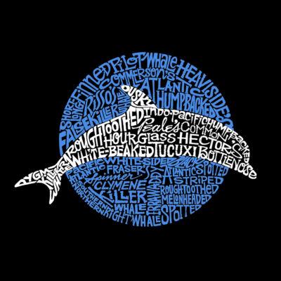 Los Angeles Pop Art Women's Raglan Word Art T-shirt - Species of Dolphin