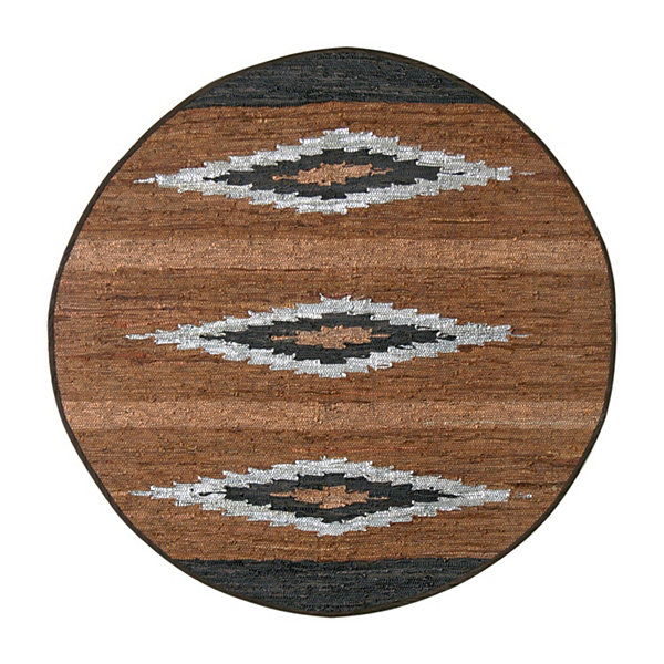 St. Croix Trading Matador Diamonds Leather Chindi Round Rug