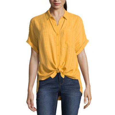 a.n.a Womens Collar Neck Short Sleeve Camp Shirt