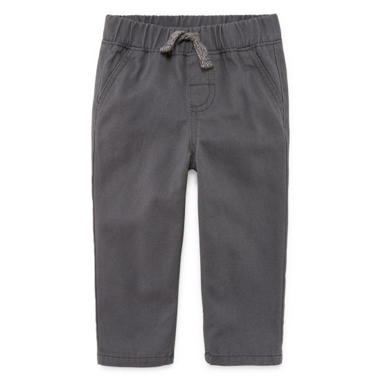 Okie Dokie Charcoal Twill Pull-On Pant - Baby Boy NB-24M