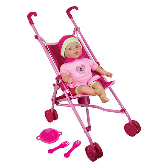 """Doll Umbrella Stroller Set With 16"""" Baby Doll"""""""