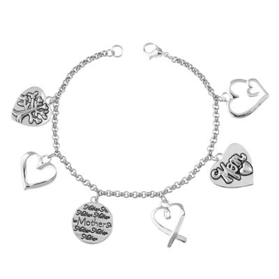 Footnotes Footnotes Silver-Plated Stainless Steel Mom Charm Bracelet J1hXIcXR