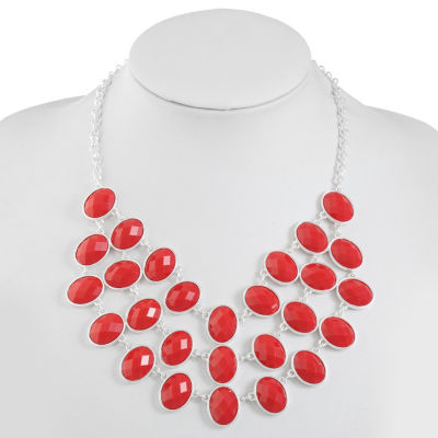 Liz Claiborne Womens Red Oval Statement Necklace
