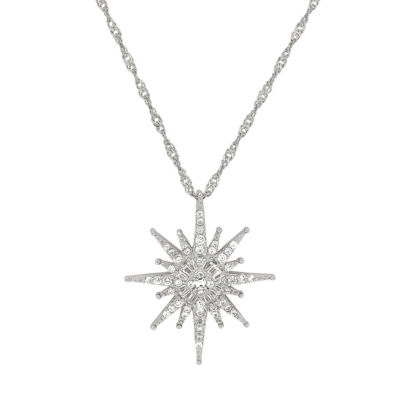 Womens White Cubic Zirconia Sterling Silver Star Pendant Necklace