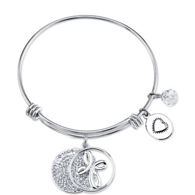 Footnotes Clear Silver Tone Pure Silver Over Brass Round Bangle Bracelet