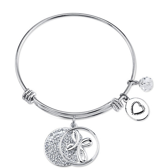 Footnotes Crystal Pure Silver Over Brass Round Bangle Bracelet