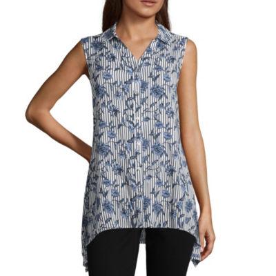 Como Blu Womens Collar Neck Sleeveless Woven Blouse