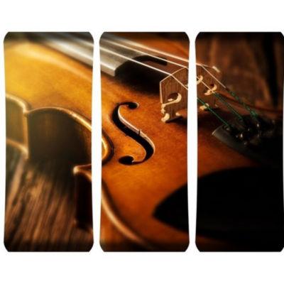 Metal Wall Art Home Decor Violin 48x19 Triptych HDCurve