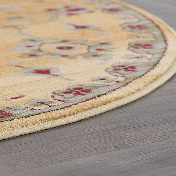 Tayse Gabrielle Transitional Border Round Area Rug