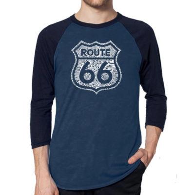Los Angeles Pop Art Men's Raglan Baseball Word Art T-shirt