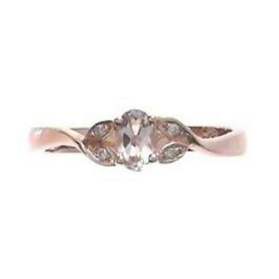 Womens Diamond Accent Pink Morganite Sterling Silver Cocktail Ring