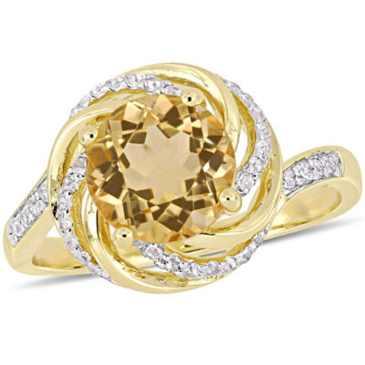 Womens Diamond Accent Genuine Yellow Citrine 18K Gold Over Silver Cocktail Ring