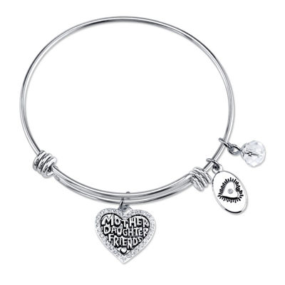 Footnotes Footnotes Footnotes Clear Silver Tone Pure Silver Over Brass Heart Bangle Bracelet