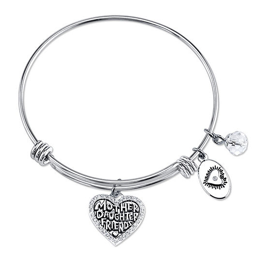 Footnotes Mother and Daughter Clear Pure Silver Over Brass Stainless Steel Heart Bangle Bracelet