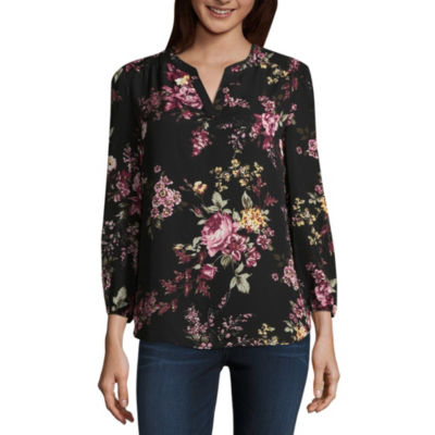 by&by Womens Split Crew Neck 3/4 Sleeve Blouse-Juniors