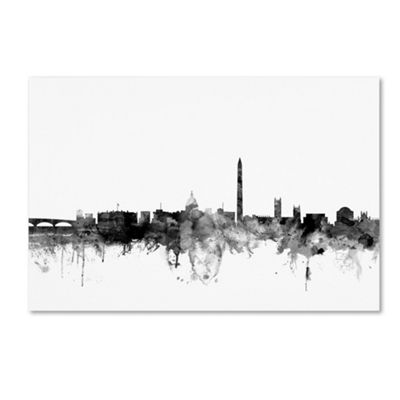 Trademark Fine Art Michael Tompsett Washington DCSkyline B&W Giclee Canvas Art