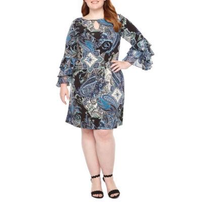 MSK Chiffon Bell Sleeve Paisley Shift Dress - Plus