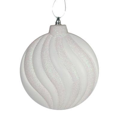"6ct Matte Winter White Glitter Swirl ShatterproofChristmas Disc Ornaments 6.25"""