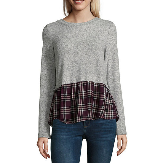Byby Womens Crew Neck Long Sleeve Knit Blouse Juniors
