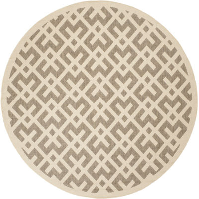 Safavieh Courtyard Collection Darrin Geometric Indoor/Outdoor Round Area Rug