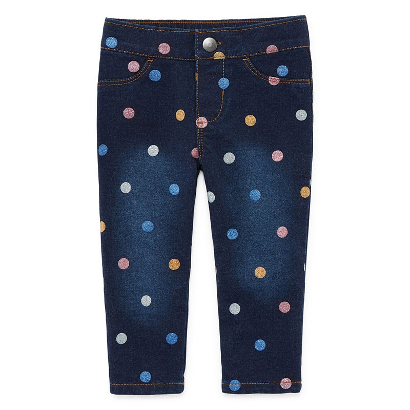 Okie Dokie Polka Dot Denim Pull-On Pants, Girls, Multi Dots, Size 3 Months