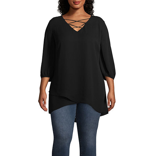 Worthington Cross Front Woven Tunic - Plus