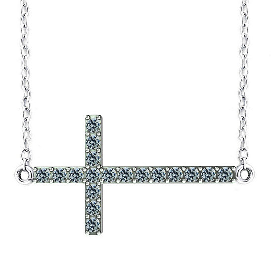 Diamonart Womens 1 CT. T.W. White Cubic Zirconia Sterling Silver Cross Pendant Necklace