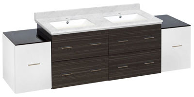 76-in. W Wall Mount White-Dawn Grey Vanity Set For1 Hole Drilling Bianca Carara Top White UM Sink