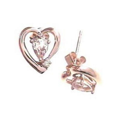 Genuine Pink Morganite Sterling Silver 10mm Stud Earrings