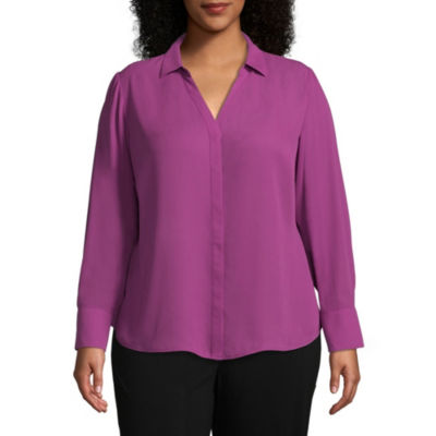 Worthington Long Sleeve Yneck Button Front Blouse – Plus