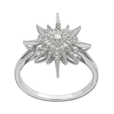 Womens White Cubic Zirconia Sterling Silver Star Cocktail Ring