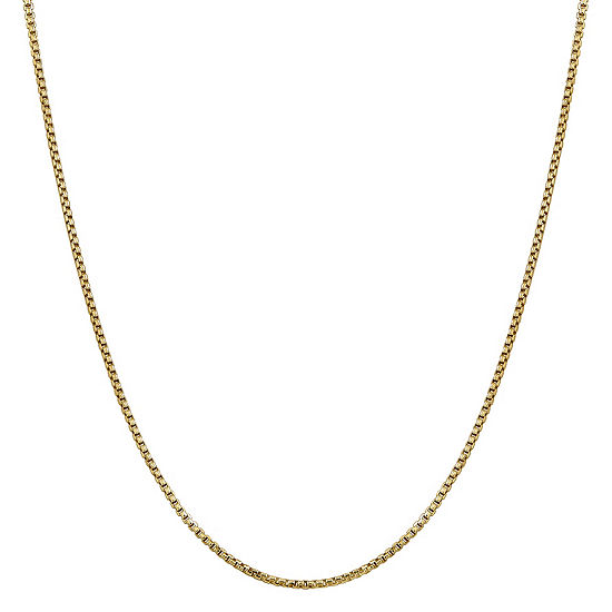 14K Gold 16 Inch Hollow Box Chain Necklace