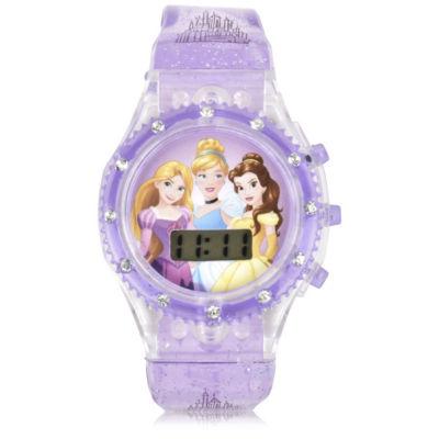 Disney Princess Unisex Purple Strap Watch-Pn4169jc