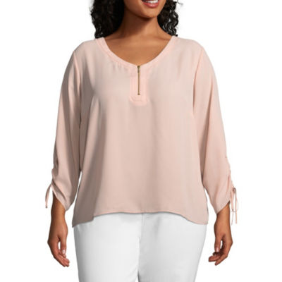 Worthington Cinched Sleeve Zipper Front Solid Woven Blouse