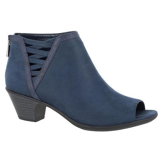 Easy Street Womens Paris Block Heel Zip Booties